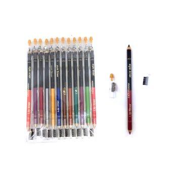 Lápiz delineador 2 en 1 con sacapuntas y cepillo para cejas, colores surtidos.