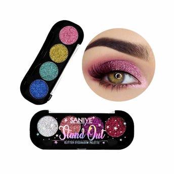 Sombra de glitter para ojos con 4 pastillas y aplícador dúo, SANIYE, 2 combinaciones surtidas, 6 grs