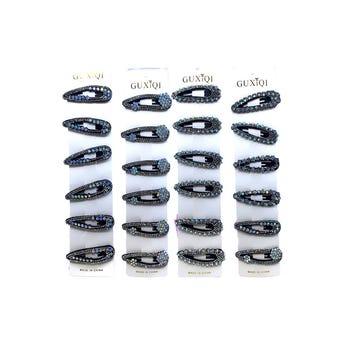 Cuca para cabello con cristales, inner por mod sujeto a disp, negra, 7 cm.