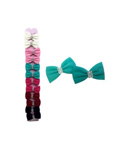 Pinza para cabello caimán moño textil con cristales, colores surtidos, 7 X 4 cm.