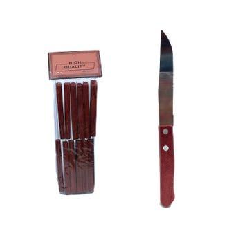 Cuchillo de sierra con mango de madera, 19 cm.