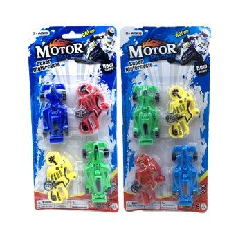 Carros y motos de fricción, set de 4 pz, colores surtidos, 28 X 13.5 cm.