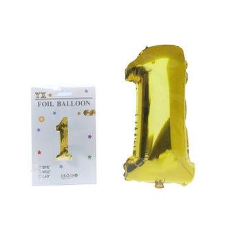 Globo de número # 1, dorado, 39 X 20 cm aprox.