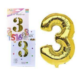 Globo de número # 3, dorado, 43 X 25 cm aprox.