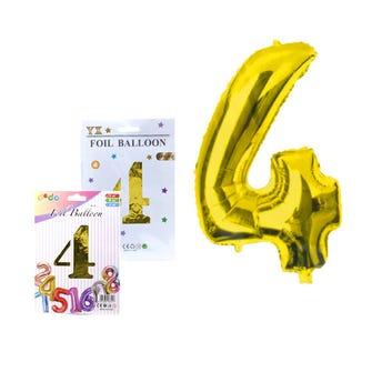 Globo de número # 4, dorado, 41 X 30 cm aprox.
