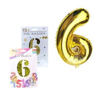 Globo de número # 6, dorado, 43 X 29 cm aprox.