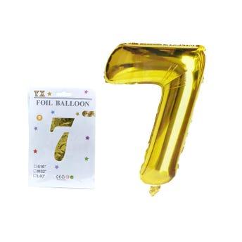 Globo de número # 7, dorado, 40 X 28 cm aprox.