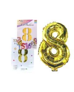 Globo de número # 8, dorado, 42 X 28 cm aprox.