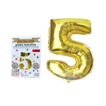 Globo de número # 5, dorado, 40 X 24 cm aprox.