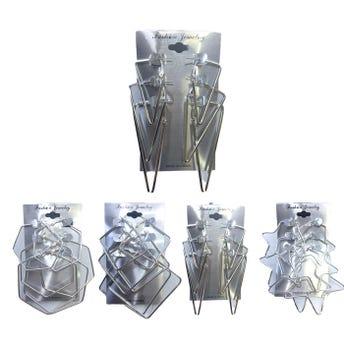 Arete arracada 3 pares, figuras geométricas, inner por mod sujeto a disp, plateada.