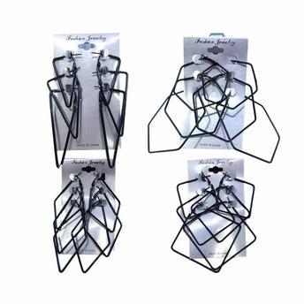 Arete arracada 3 pares, figuras geométricas, inner por mod sujeto a disp, negra.