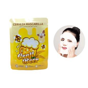 Mascarilla facial textil de cerveza, LOVE LUXE, humecta y suaviza la piel, 30 ml.