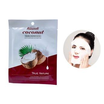 Mascarilla facial textil de extracto de coco, HANMILI, hidrata y suaviza la piel, 30 ml.