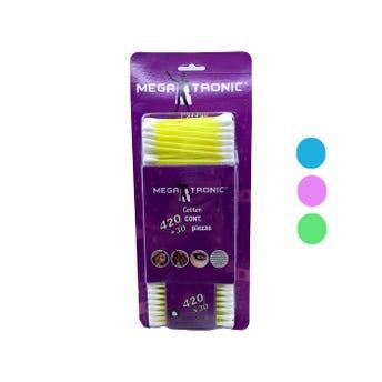 Cotonete de algodón en bister MEGATRONIC, colores sujetos a disponibilidad, con 420 pz, 7 cm.