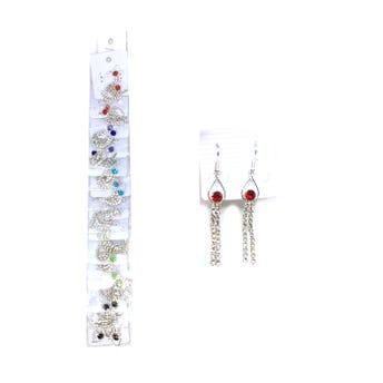 Arete largo gota con cristales colgantes, colores surtidos, 6.5 cm aprox.