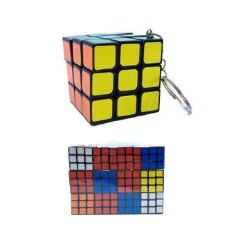 Llavero cubo RUBIK de colores, 3.5 X 3.5 cm.