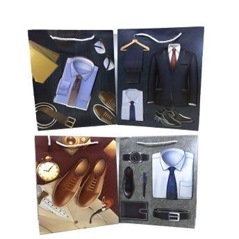 Bolsa para regalo de caballero, modelos surtidos, 32 x 26 x 10 cm