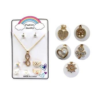 Collar con cristales, set con 3 pares de arete y 2 anillos, modelos surtidos.