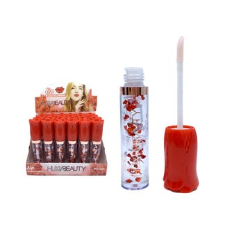 Lip gloss con decoraciones de corazones, HUXIA BEAUTY, transparente.