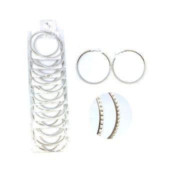 Arete arracada metálica con perlas, inner por color sujeto a disp, 6 cm.