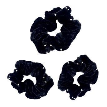 Dona para cabello de terciopelo con cristales, negra 11 cm.