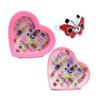 Anillo metálico ajustable para niña de figura en estuche de corazón, modelos surtidos.