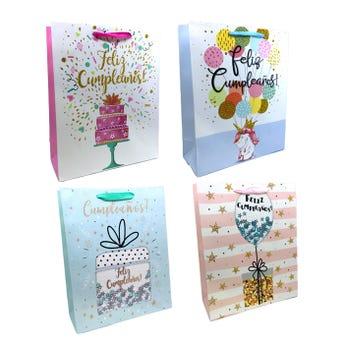 Bolsa para regalo con glitter FELIZ CUMPLEAÑOS, modelos sujetos a disp, 32 x 26 x 10.5 cm