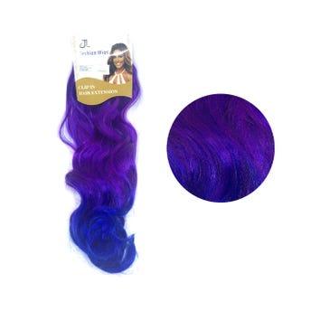 Extensión para cabello, ondulado, morado con azul rey, 23 x 56.