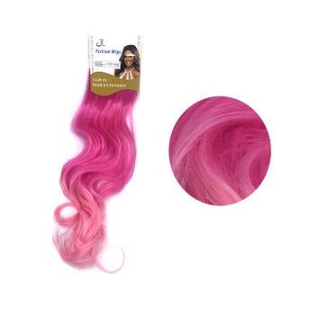 Extensión para cabello, ondulado, fiusha con rosa claro, 23 x 56 cm.