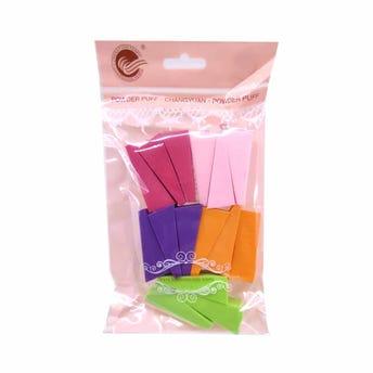 Esponja para maquillaje tipo queso, set de 15 pz, colores surtidos, 5.5 X 2 cm.