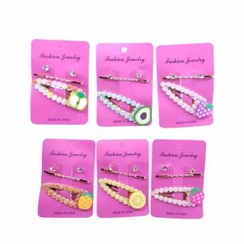 Cuca para cabello en set con pasador y arete de cristal, colores y modelos surtidos, 6 cm.