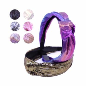 Diadema textil con nudo, brillosa tornasol colores surtidos, inner por mod sujeto a disp, 3 cm.