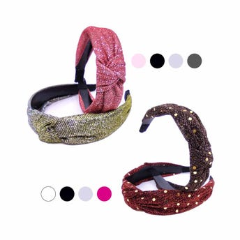 Diadema textil con nudo, brillosa, colores surtidos, inner por mod sujeto a disp, 3 cm.