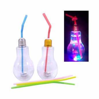 Vaso de plástico en forma de foco con luz y popote, 300 ml, 14 X 8  cm.