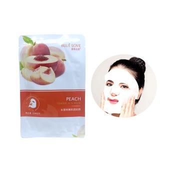 Mascarilla facial textil de durazno, BLUE LOVE, para rejuvenecer e hidratar la piel, 22 ml.