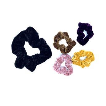 Dona para cabello textil de terciopelo, colores surtidos sujetos a disp, 8 cm.