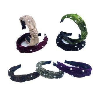 Diadema para cabello nudo brillosa, decorada con perlas, colores surtidos, 2.5 cm.