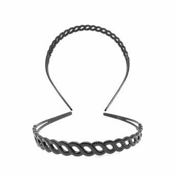 Diadema de plástico cadena, negra, 1.5 cm.