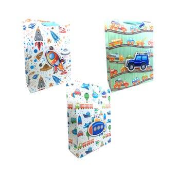 Bolsa para regalo 3D con glitter de niño, modelos surtidos, 40 x 30 x 12 cm.
