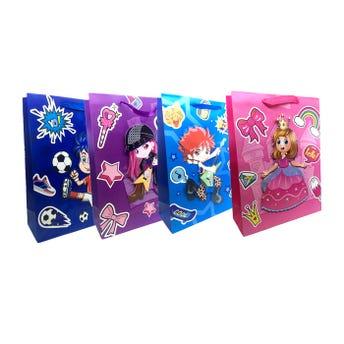 Bolsa para regalo 3D con glitter de niño y niña, modelos surtidos, 40 x 30 x 12 cm.