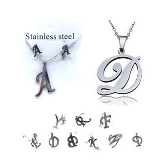 Collar con arete de letras metálico, mod surtidos, inner por color sujeto a disp, dorado y plateado.