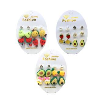 Arete en set de 6 pares, frutas perlass y  cristales, mod surt.