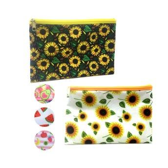 Cosmetiquera textil decorada, modelos surtidos sujetos a disp, 23 x 15 cm.