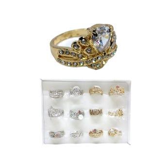 Anillo metálico corona con cristales, modelos y tallas surtidas.