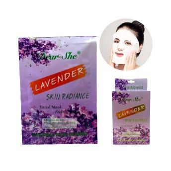 Mascarilla facial de lavanda DEAR SHE, hidrata, refresca y  da elasticidad a la piel, 20 grs.