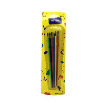 Pinceles en set de 6 pz, colores surtidos, 15 cm aprox.