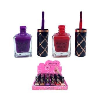 Esmalte para uñas matte, MISS LOU, tapa serigrafiada, colores surtidos, 20 ml.
