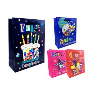 Bolsa para regalo 3D con glitter FELIZ CUMPLEAÑOS, modelos surtidos, 23.5 x 19.5 x 8 cm.