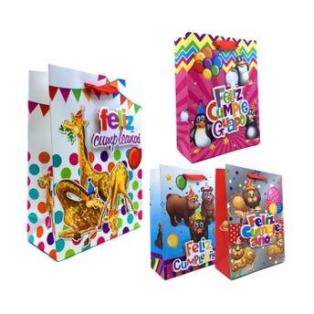 Bolsa para regalo 3D con glitter FELIZ CUMPLEAÑOS de animalitos, modelos surtidos, 24 x 18 x 8 cm.