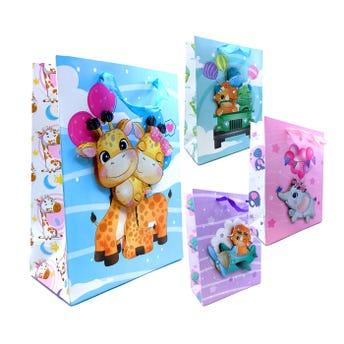 Bolsa para regalo 3D con glitter de animalitos, modelos surtidos, 24 x 18 x 8 cm.